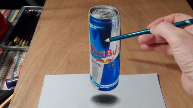 Uskumatu illusioon - vaata, kuidas joonistatakse 3D Red Bull purk