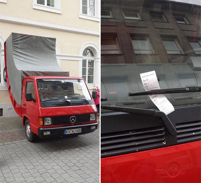 FOTOD: Kontrolör tegi Saksamaal parkimistrahvi autoskulptuurile