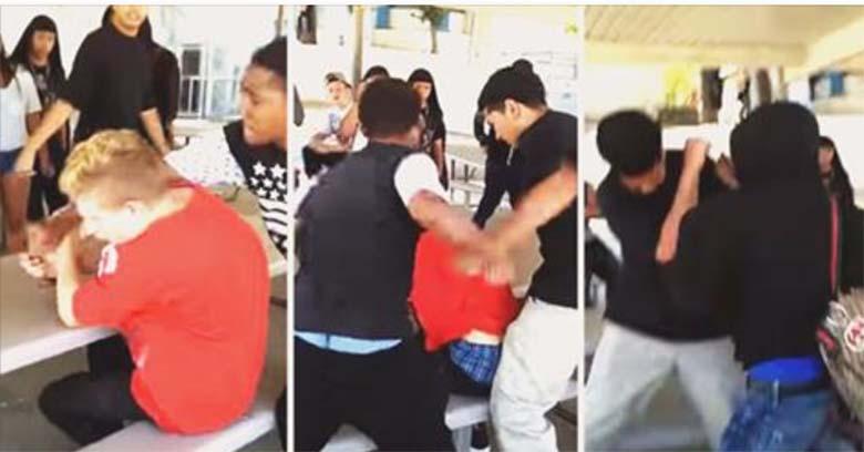 VIDEO: VÕIGAS KOOLIVÄGIVALD - kaks poissi peksavad ühte poissi selja tagant. Õnneks tõttab üks julge appi...
