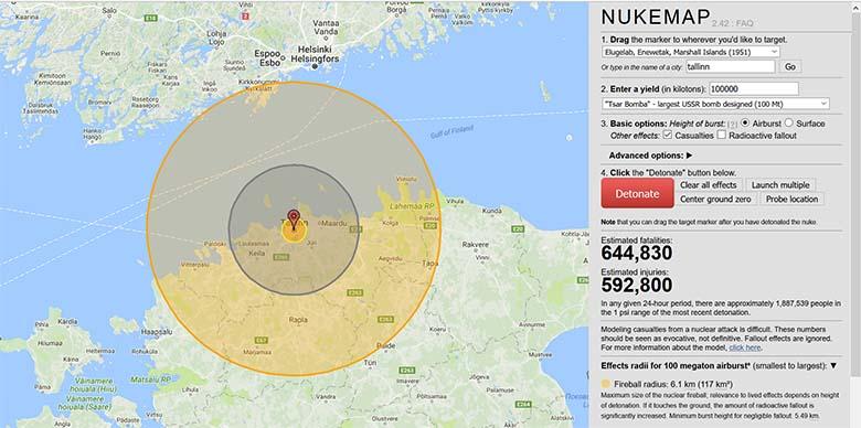 Vaata, kui kaugele ulatuvad purustused, kui sinu kodukohta aatompomm visatakse