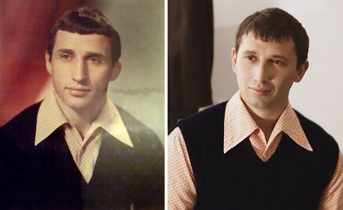 Isa ja poeg, sama vanus ja sama särk