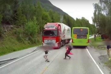 KOHUTAV VIDEO: LAPS jooksis rekkale maanteel ette