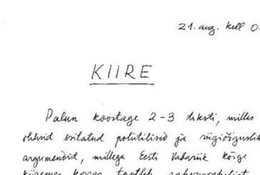SELLE KIRJA SAATIS välisminister Lennart Meri Soomest 21. augustil 1991 – kaks tundi pärast Eesti taasiseseisvumist.