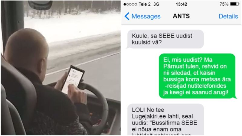 FOTO: Vaata Pärnu–Tallinna liinil sõidu ajal telefoni näppinud bussijuhi sõnumeid