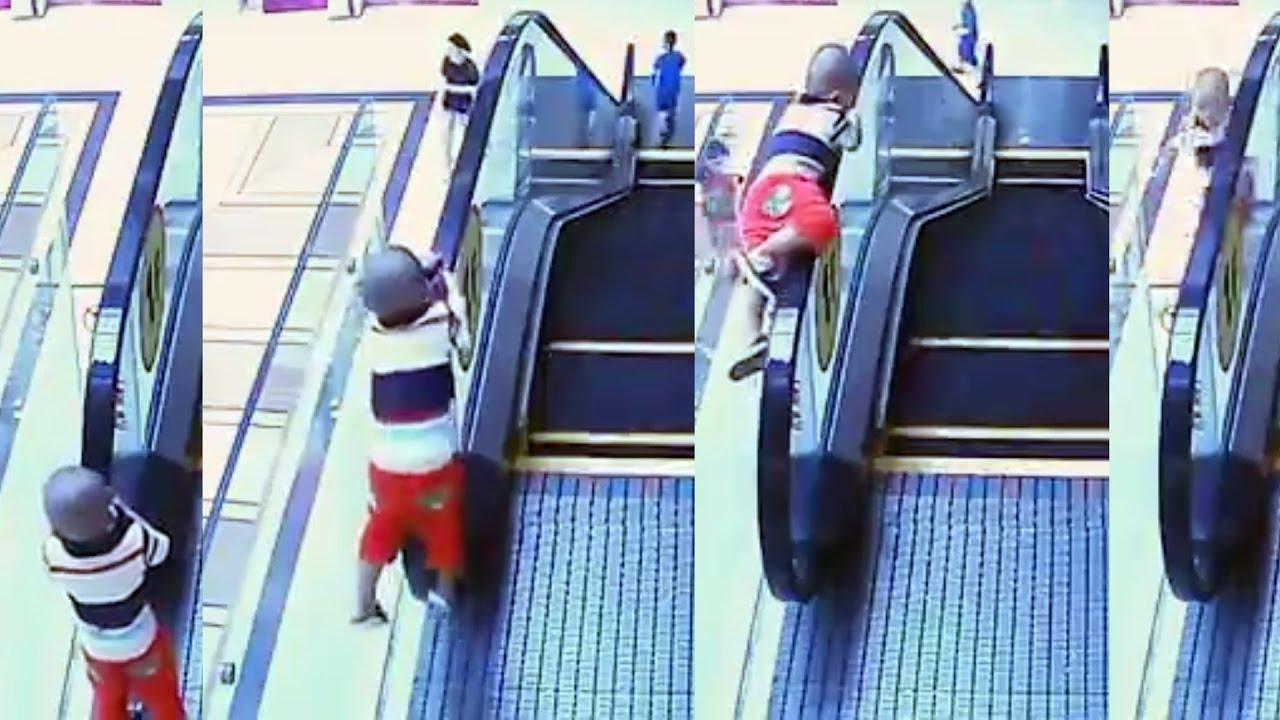 ŠOKEERIV VIDEO: Laps kukub ennast eskalaatoril kiikudes surnuks