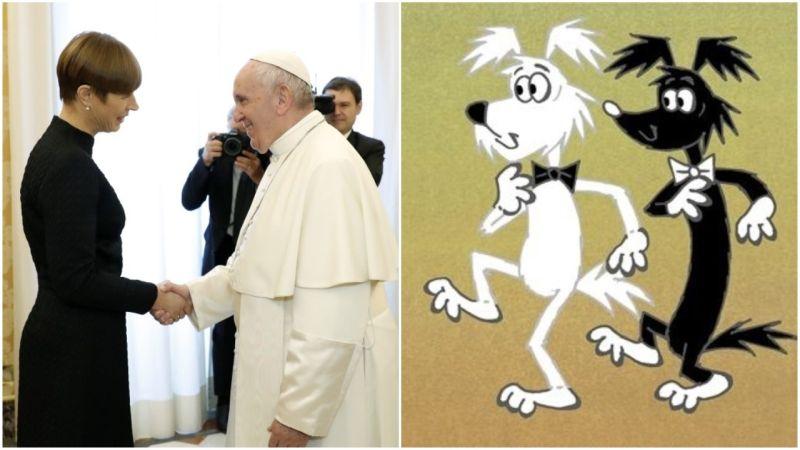 Kaks tilka vett: paavstiga kohtunud Kaljulaid vs must ja valge koer
